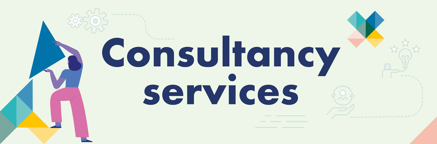 Consultancy services. A person stacks a triangle shape.