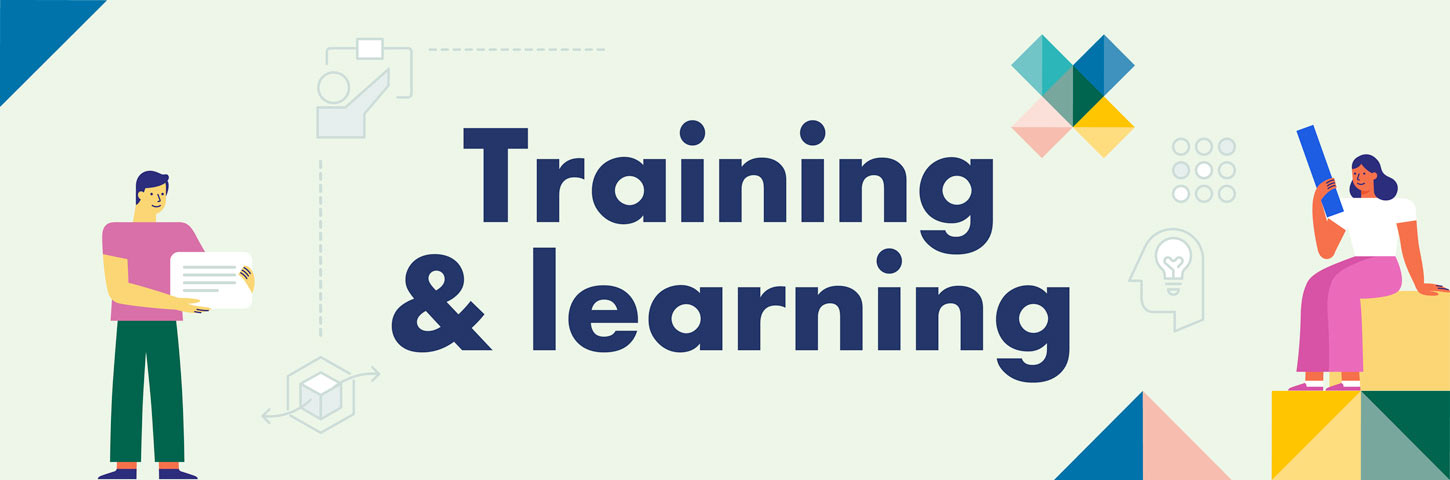 Training & learning. Person holds a speech bubble and another person sits on a platform reading