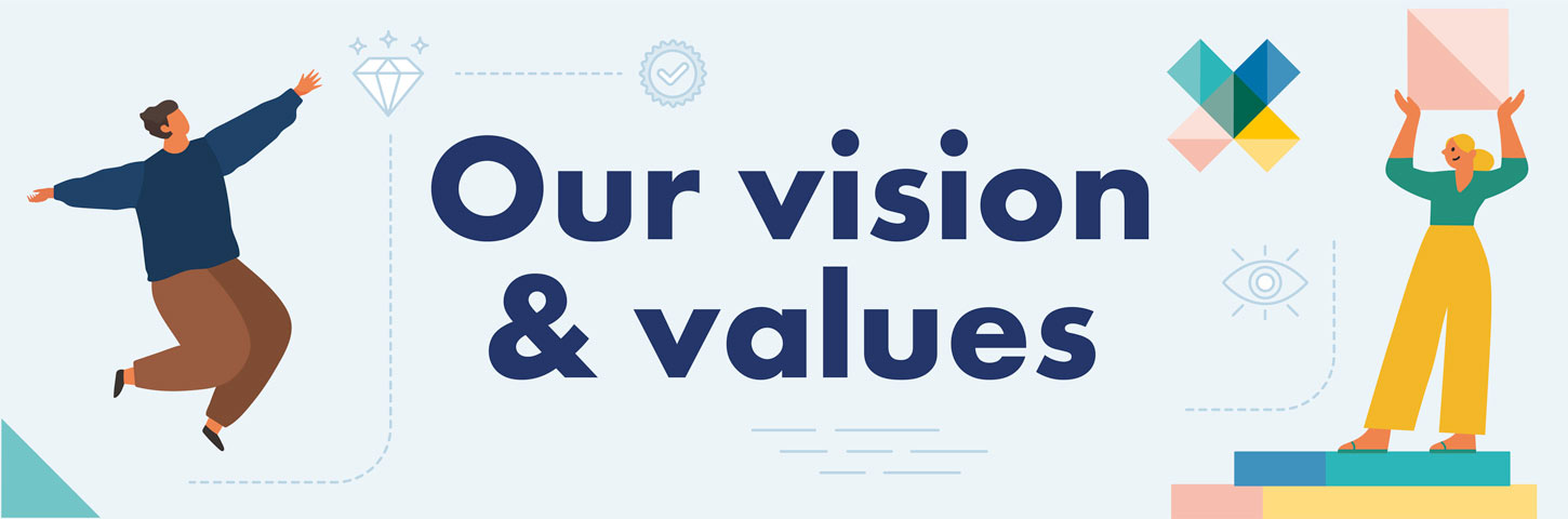Our vision & values. A person reaches and a person stands holding a pink box above their head.