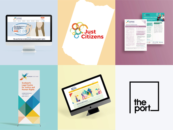 A computer, Just Citizens logo, fact sheets, banner, tilted computed and the Port Creative logo