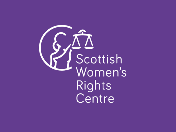Purple background with person holding scales aloft. Scottish Women's Rights Centre